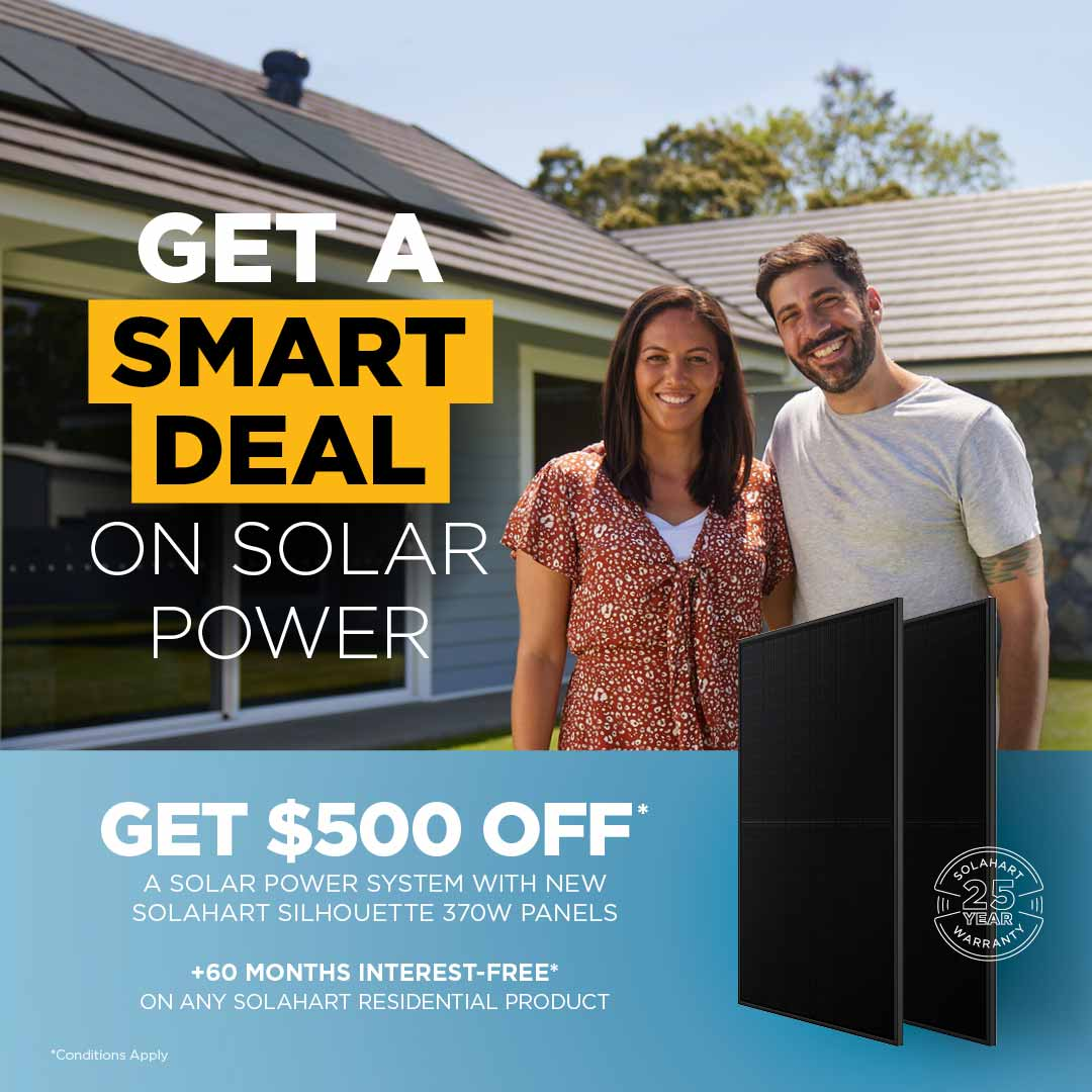 Get $500 off a solar power system 5kW or above with Solahart Silhouette 370W solar panels. Conditions apply.